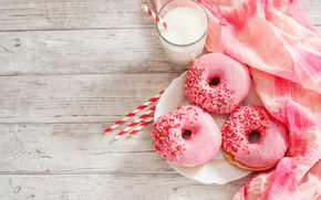 Картинка стакан, еда, молоко, пончики, салфетка, глазурь