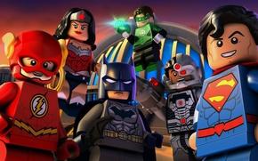 Картинка Wonder Woman, Batman, smile, bat, Lego, Green Lantern, Superman, hero, pose, mask, animated film, DC …