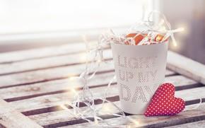 Картинка стакан, настроение, романтика, сердце, гирлянда, Valentine's Day