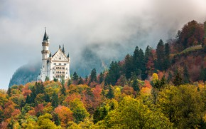 Картинка осень, лес, деревья, горы, туман, замок, Германия, Бавария, Neuschwanstein, Нойшванштайн