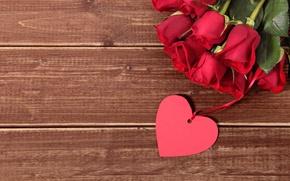 Картинка red, love, heart, romantic, gift, roses, красные розы, valentine`s day