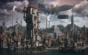 Обои строения, город, здания, дирижабль, steampunk