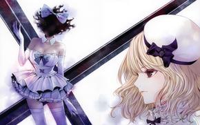 Картинка лицо, шапка, крест, чулки, блондинка, декольте, перчатки, профиль, корсет, бант, art, оборки, Kiyohara Hiro, альтер …