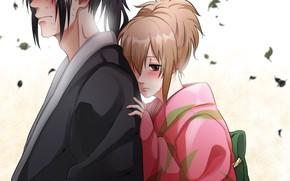 Картинка аниме, арт, двое, Gintama, Hijikata Toushirou, Okita Mitsuba