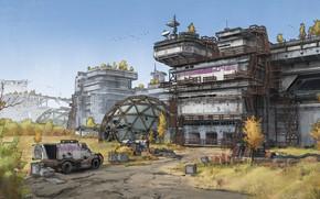 Картинка станция, сооружения, объект, автомобиль, Abandoned Research Lab