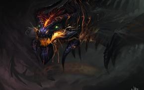 Картинка небо, огонь, дракон, дым, фэнтези, by TehChan