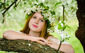 Картинка взгляд, девушка, волосы, весна, венок, цветки