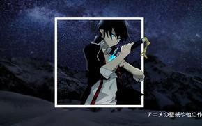 Картинка снег, гора, аниме, anime, blue exorcist, Синий Экзорцист, madskillz, мэдскиллз, космическое небо