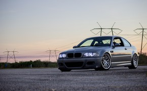 Картинка BMW, Light, Sunset, E46, Evening, Silver, Sight, Angel Eye