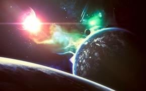Обои космос, сияние, звезды, планета