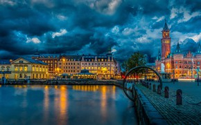 Картинка city, lights, HDR, twilight, river, sky, Sweden, photography, sunset, clouds, evening, street, houses, castle, buildings, ...