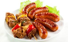 Картинка сосиски, мясо, шашлык
