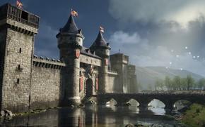 Картинка птицы, мост, крепость, ров, Castle on the river