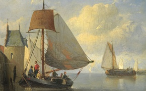 Картинка пейзаж, дерево, лодка, масло, картина, парус, Anthonie Waldorp, Вид на Реку и Старую Башню