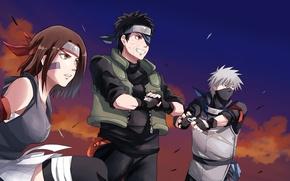 Обои girl, game, Naruto, sky, woman, anime, cloud, man, sharingan, ninja, asian, Rin, friends, Uchiha, manga, ...