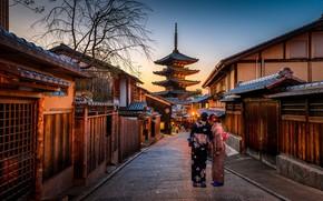 Картинка city, lights, Japan, twilight, Kyoto, sunset, evening, street, people, houses, women, buildings, lamps, kimono, pagoda, …