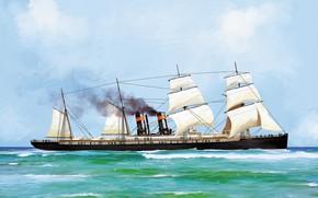 Картинка волны, корабль, oregon, Transatlantic Ships