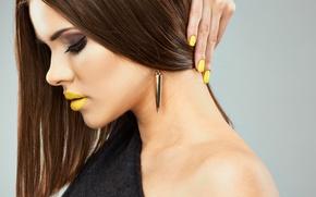 Картинка yellow, model, lips, make