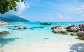 Обои Солнце, Природа, Море, Пляж, Лодка, Лето, Тропики