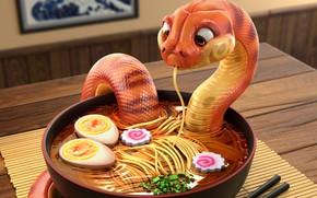Обои Snake - Danger Noodles, Michael Santin, ресторанчик, арт, змея, лапша, еда, удон, Udon, суп