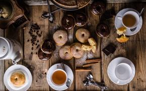 Обои пирог, корица, пончики, шоколад, еда, кофейные зерна, глазурь, сахарная пудра, выпечка, чай