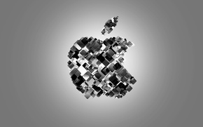 Картинка black & white, Apple, яблоко, минимализм, брэнд