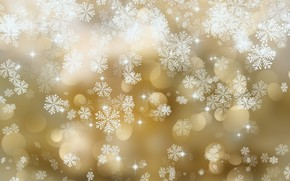 Обои текстура, with, golden, background, снежинки, snowflakes