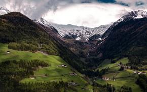 Картинка Облака, Горы, Река, Лес, Пейзаж, Долина