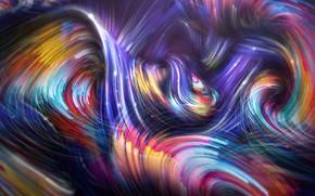 Картинка волны, линии, абстракция, фон, красочные, Colorful Spiral Waves