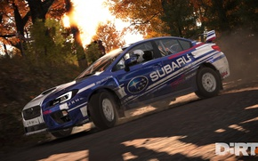 Картинка race, speed, Subaru, car, game, Dirt 4, vegetation