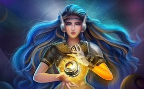 Картинка girl, game, power, pretty, Overwatch, Symmetra, bishoho, orbe