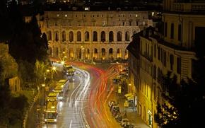 Картинка ночь, огни, Рим, Италия, театр Марцелла