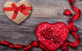 Обои сладости, подарок, конфеты, hearts, Valentine's Day, сердечки, любовь, gift, romantic, chocolate, wood, шоколад, love, decoration, ...