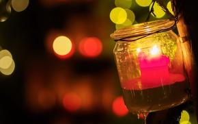 Обои банка, свеча, Christmas lights