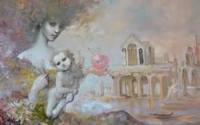 Картинка сердце, ангел, арка, Сюрреализм, Лазарев И.А, затонувший дом