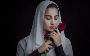 Картинка девушка, розы, Red Emotion