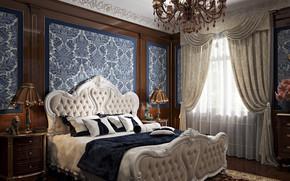 Картинка интерьер, статуэтка, спальня, помещение, Blue bedroom