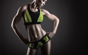 Картинка green, pose, female, Fitness, sportswear, muscular toning