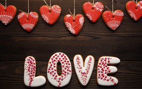 Картинка любовь, романтика, сердечки, red, love, romantic, hearts, Valentine's Day, gift, cookies
