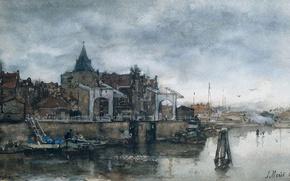 Картинка город, рисунок, акварель, Якоб Хендрикус Марис, Башня Схрейерсторен в Амстердаме