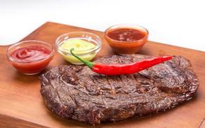 Картинка мясо, перец, соус, стейк