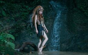Картинка девушка, природа, стиль, перья, головной убор
