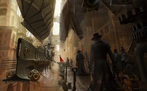 Картинка fantasy, airship, people, gears, weapons, digital art, shotgun, buildings, rifle, artwork, architecture, fantasy art, Steampunk, ...