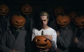 Картинка люди, тыквы, Halloween