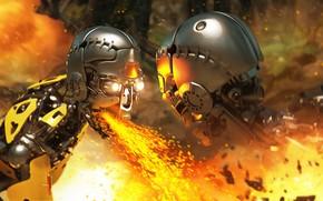 Картинка огонь, робот, искры, андроид, Jungle War