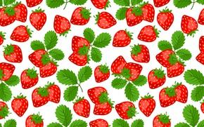 Картинка листья, красный, ягоды, клубника