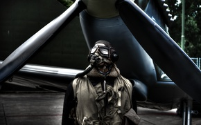 Обои самолет, человек, очки, перчатки, пилот, пропеллер, aircraft, man, pilot, gloves, goggles, шлемофон, propeller