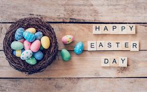Картинка Пасха, Яйца, Буквы, Праздник, Гнездо