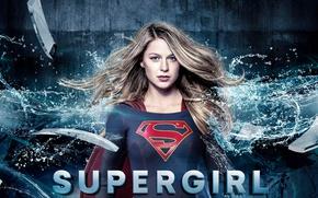 Картинка red, girl, logo, green eyes, dress, woman, blue, beautiful, singer, blonde, American, actress, DC Comics, …