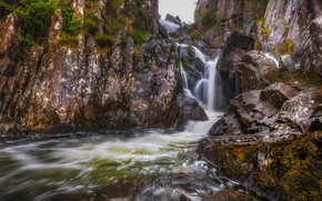 Картинка ручей, камни, скалы, Уэльс, водопад